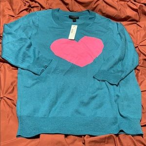 Teal pink J crew heart sweater NEW size Medium